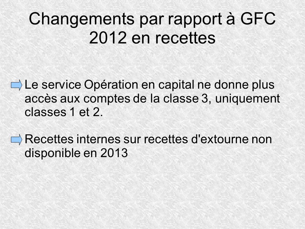 Changements par rapport à GFC 2012 en recettes