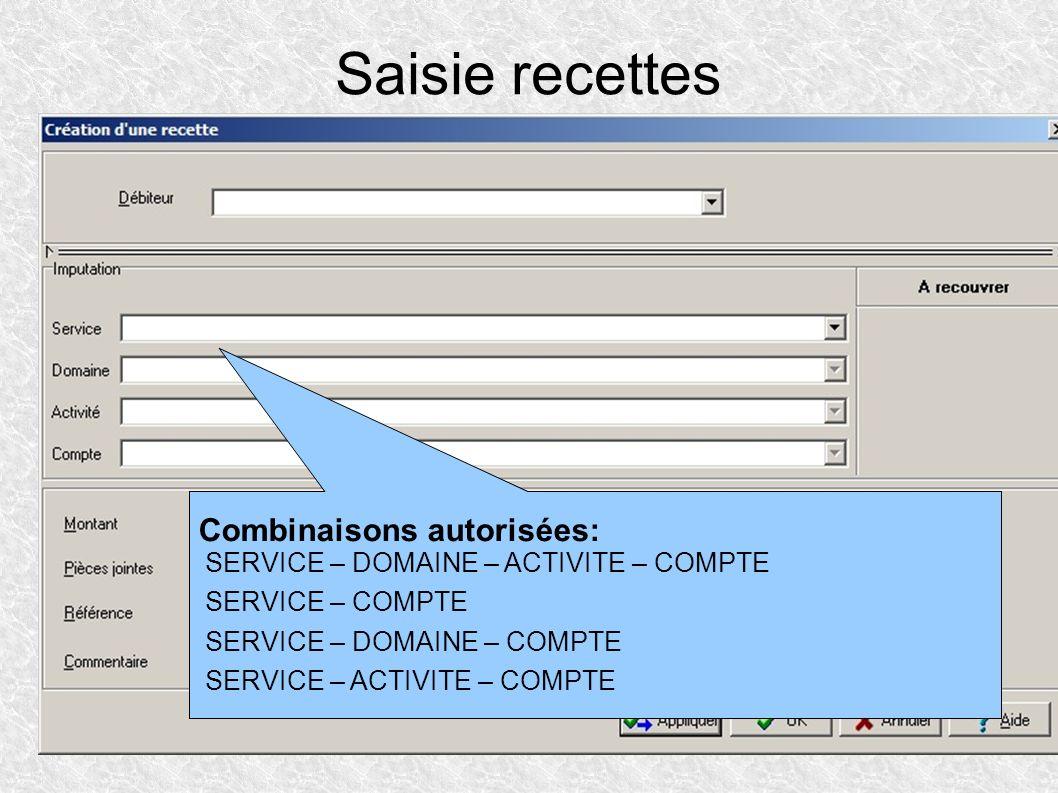 Saisie recettes Combinaisons autorisées: SERVICE – DOMAINE – ACTIVITE – COMPTE. SERVICE – COMPTE.