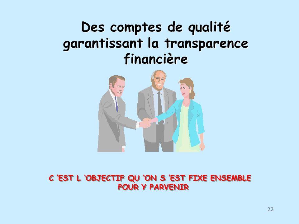 Des comptes de qualité garantissant la transparence financière