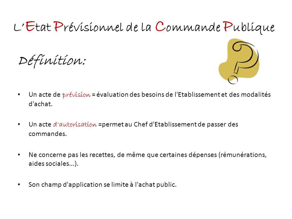 L'Etat Prévisionnel de la Commande Publique