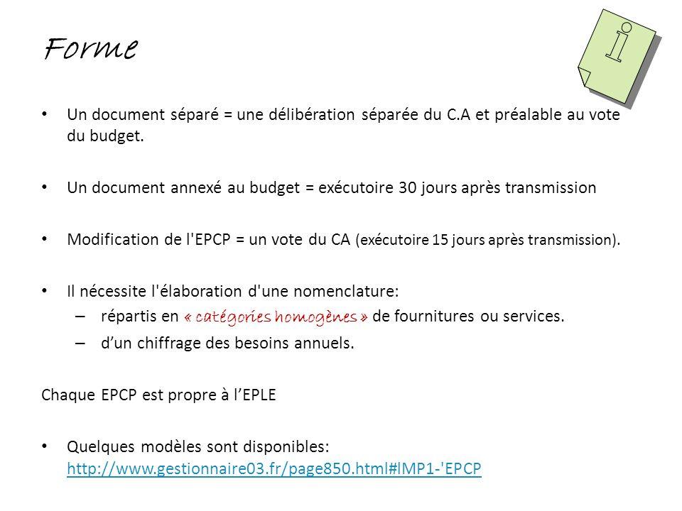 Forme Un document séparé = une délibération séparée du C.A et préalable au vote du budget.