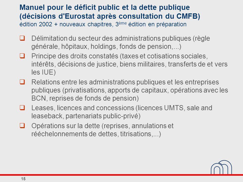 Manuel pour le déficit public et la dette publique (décisions d Eurostat après consultation du CMFB) édition 2002 + nouveaux chapitres, 3ème édition en préparation