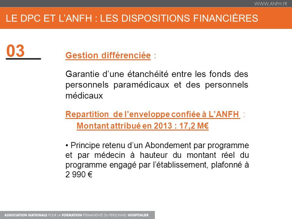 Le DPC et l'ANFH : Les dispositions financières