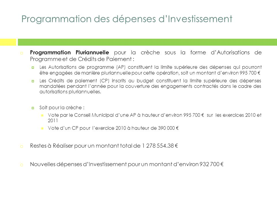 Programmation des dépenses d'Investissement