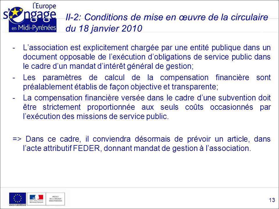 II-2: Conditions de mise en œuvre de la circulaire du 18 janvier 2010