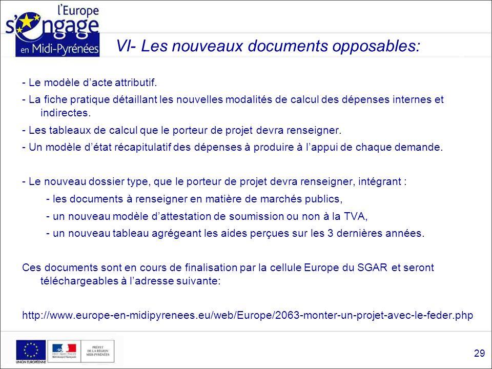 VI- Les nouveaux documents opposables: