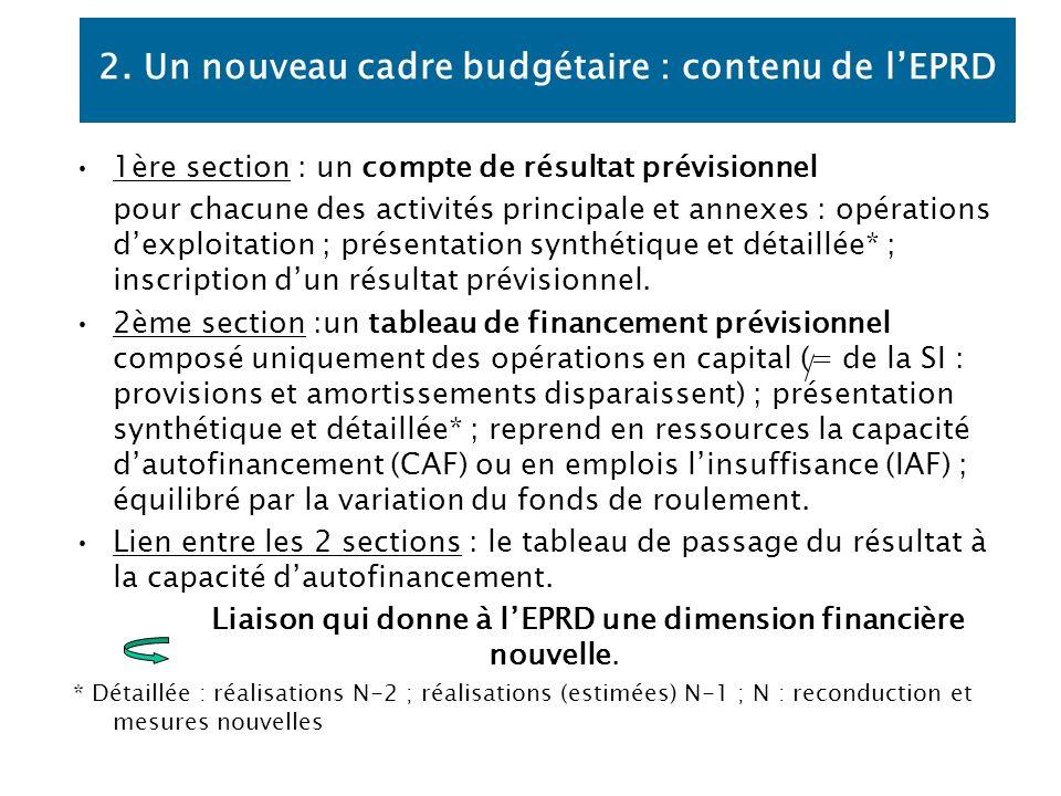 2. Un nouveau cadre budgétaire : contenu de l'EPRD
