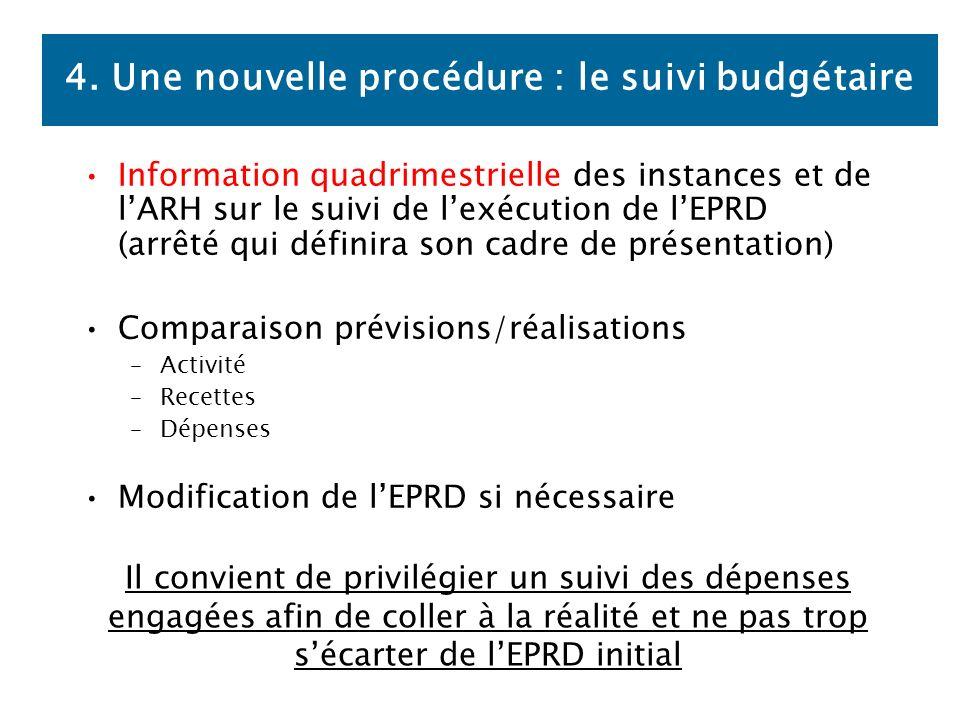 4. Une nouvelle procédure : le suivi budgétaire