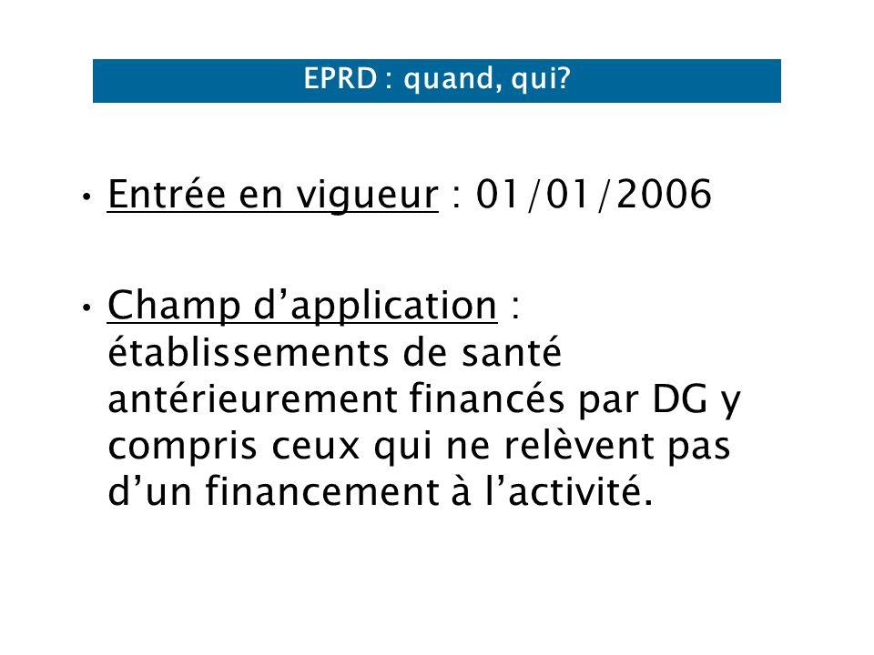 EPRD : quand, qui Entrée en vigueur : 01/01/2006.