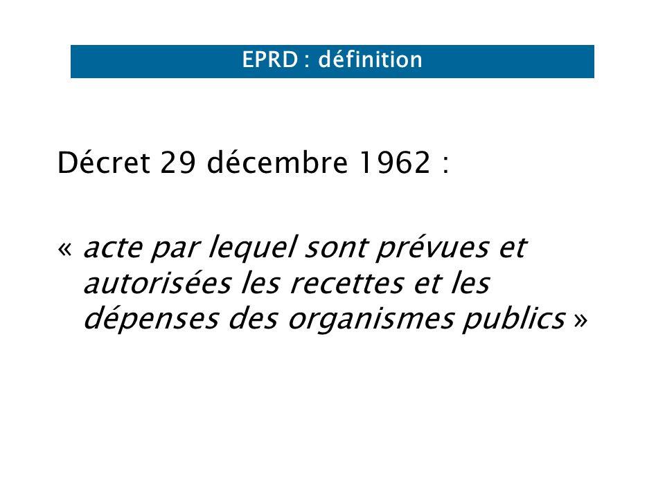 EPRD : définition Décret 29 décembre 1962 : « acte par lequel sont prévues et autorisées les recettes et les dépenses des organismes publics »