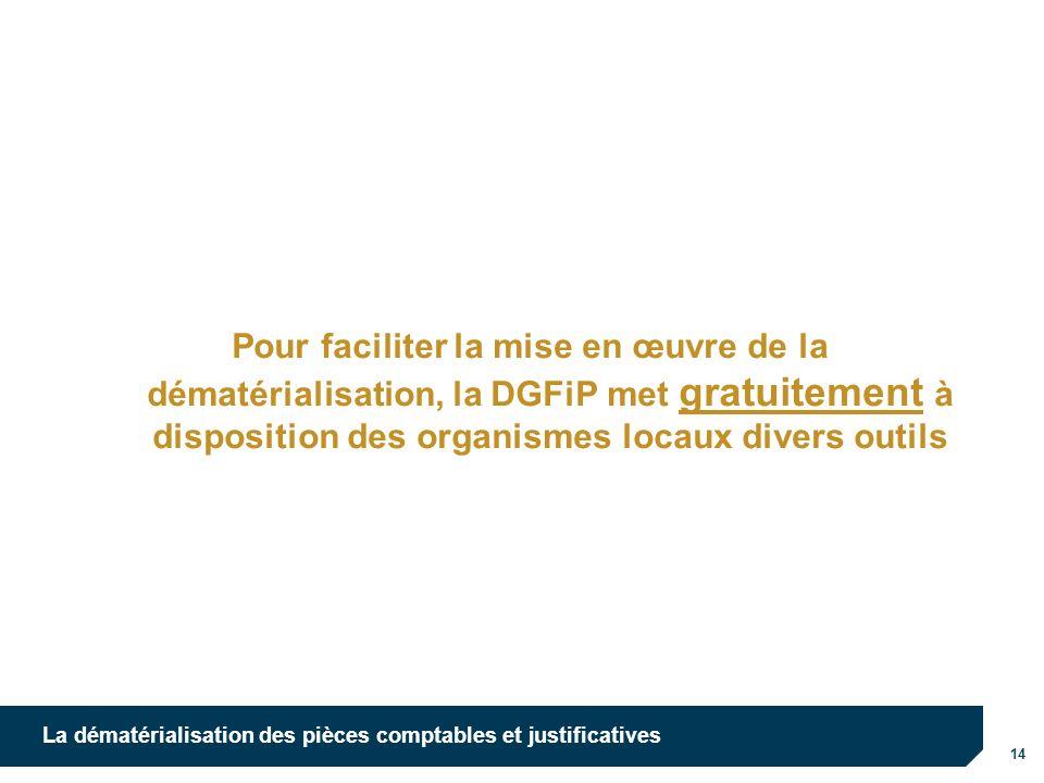 10/10/12 Pour faciliter la mise en œuvre de la dématérialisation, la DGFiP met gratuitement à disposition des organismes locaux divers outils.