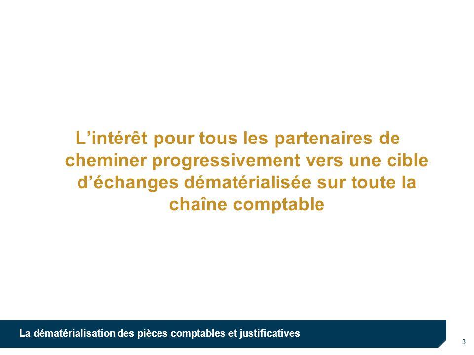 10/10/12 L'intérêt pour tous les partenaires de cheminer progressivement vers une cible d'échanges dématérialisée sur toute la chaîne comptable.