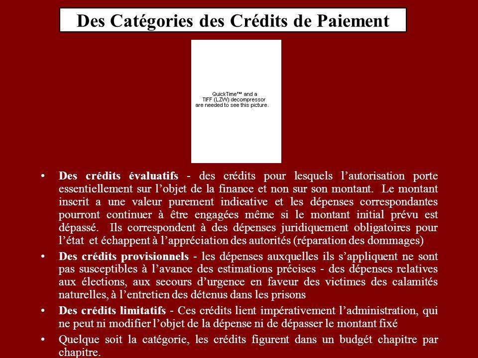 Des Catégories des Crédits de Paiement