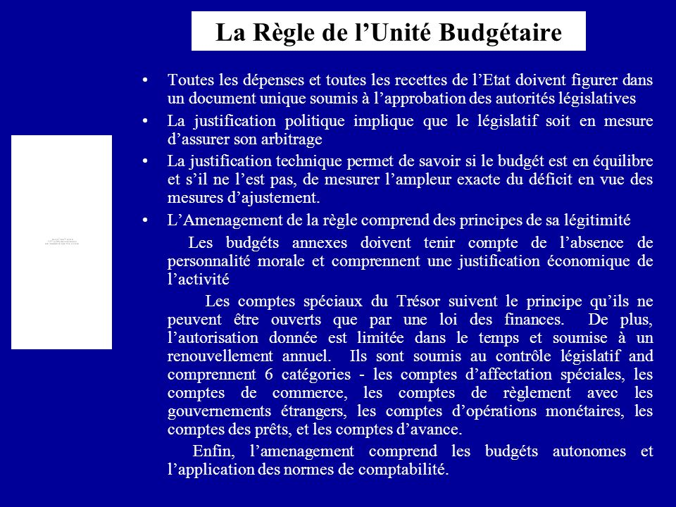 La Règle de l'Unité Budgétaire