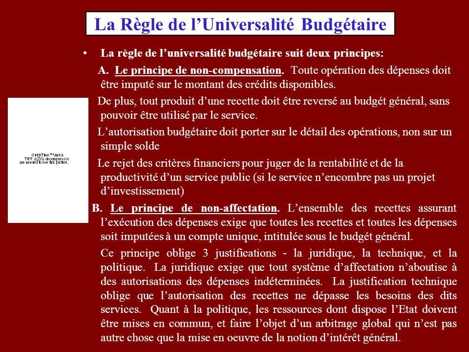 La Règle de l'Universalité Budgétaire