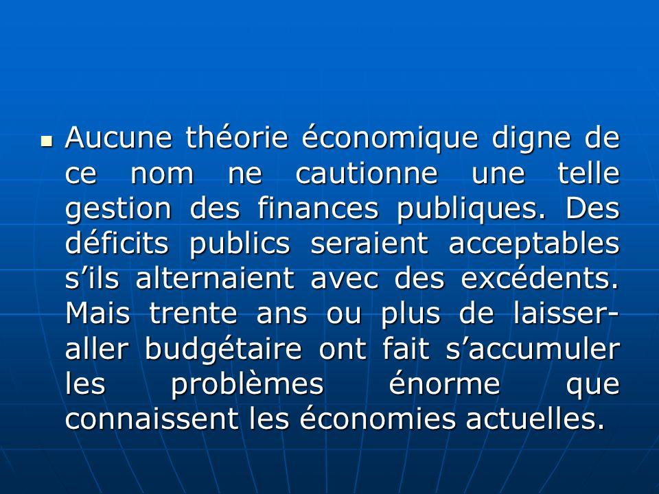 Aucune théorie économique digne de ce nom ne cautionne une telle gestion des finances publiques.