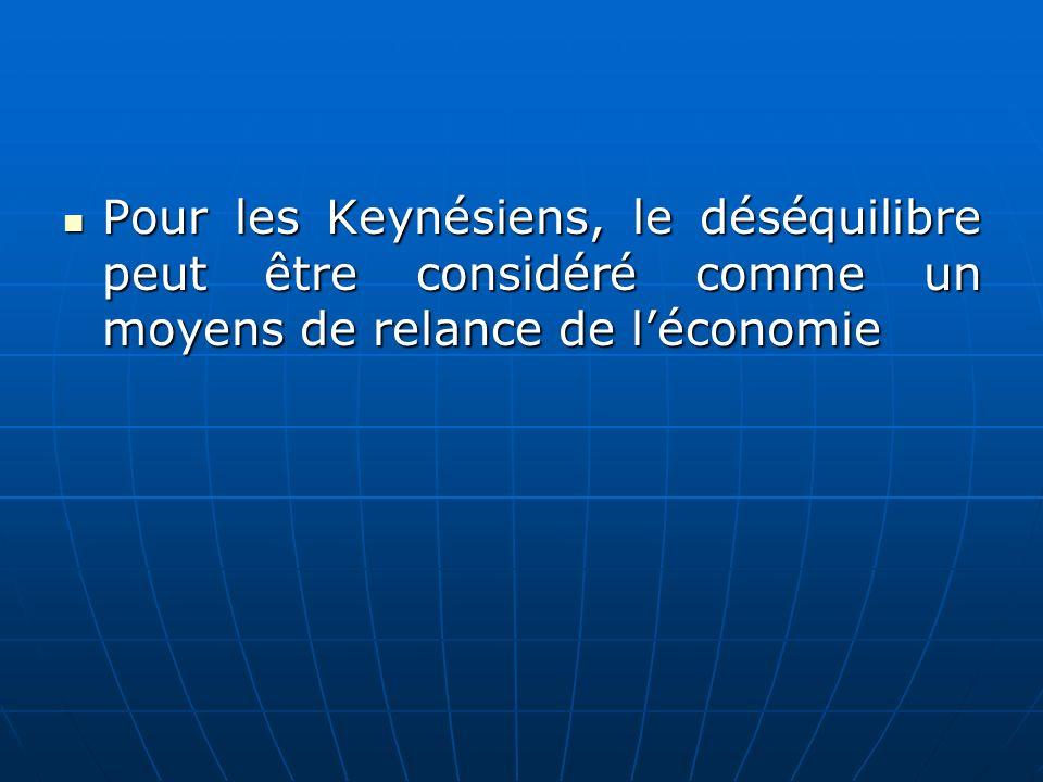 Pour les Keynésiens, le déséquilibre peut être considéré comme un moyens de relance de l'économie