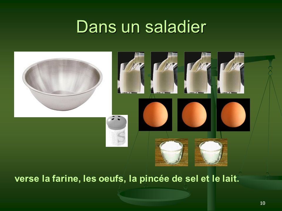 Dans un saladier verse la farine, les oeufs, la pincée de sel et le lait.