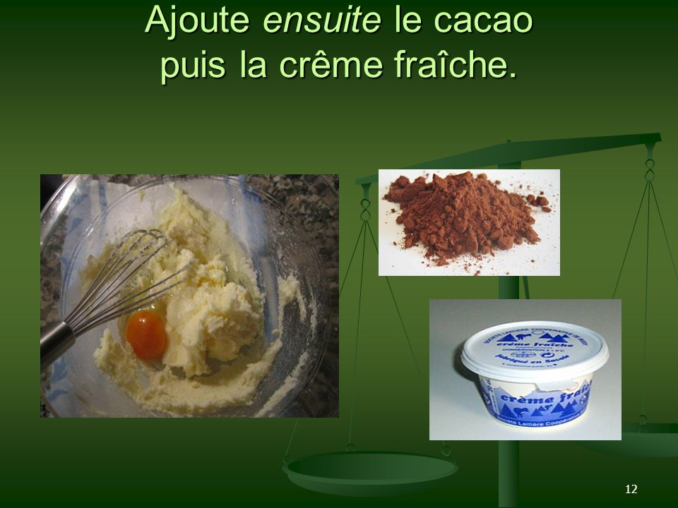 Ajoute ensuite le cacao puis la crême fraîche.