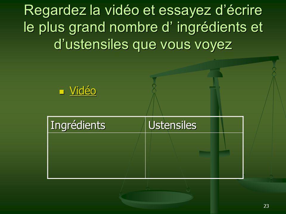 Regardez la vidéo et essayez d'écrire le plus grand nombre d' ingrédients et d'ustensiles que vous voyez