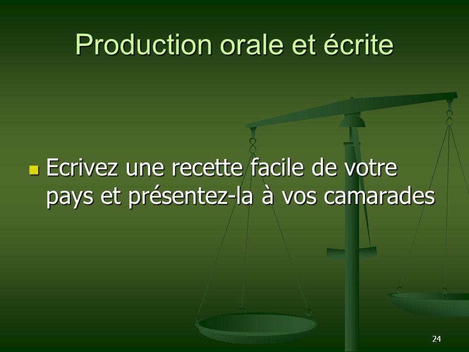 Production orale et écrite