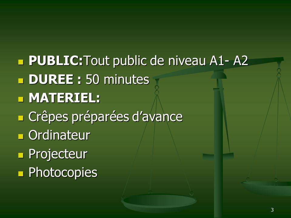 PUBLIC:Tout public de niveau A1- A2