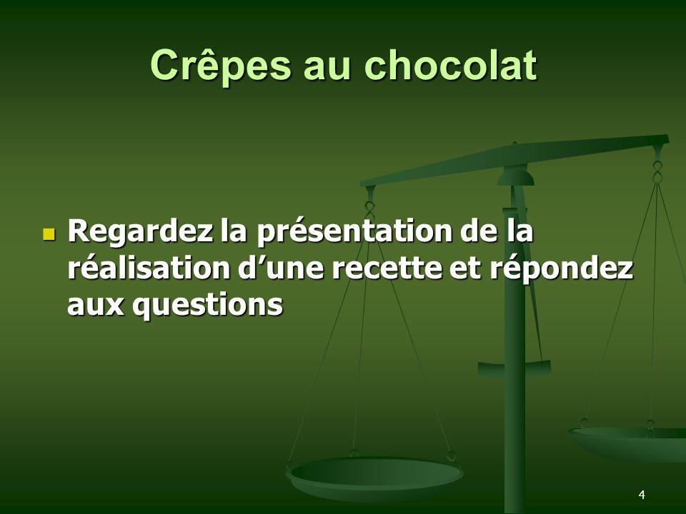 Crêpes au chocolat Regardez la présentation de la réalisation d'une recette et répondez aux questions.