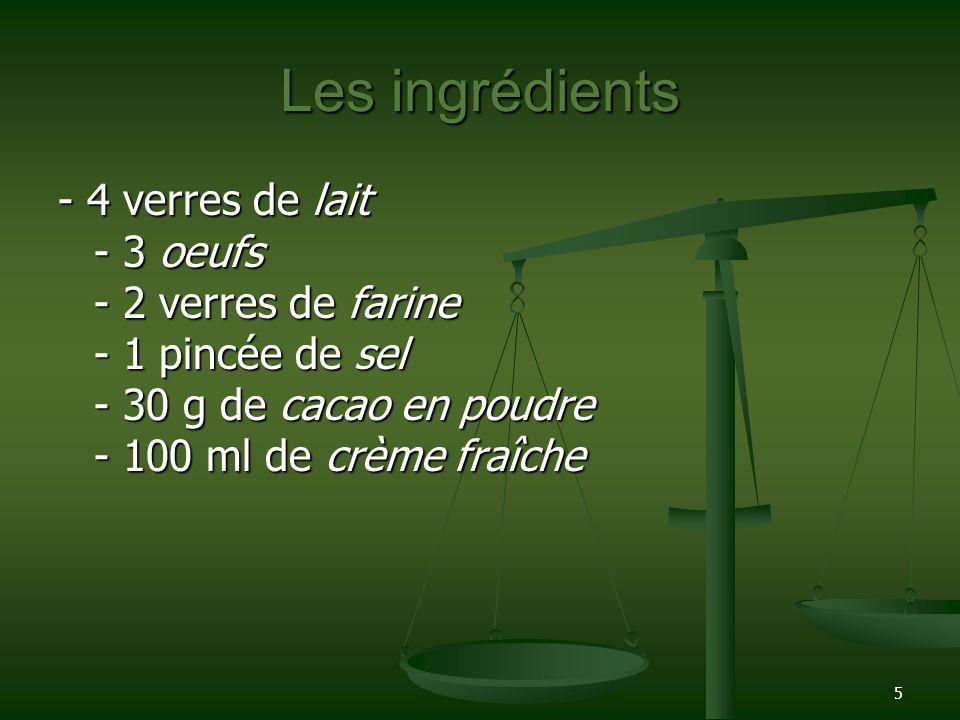 Les ingrédients - 4 verres de lait - 3 oeufs - 2 verres de farine - 1 pincée de sel - 30 g de cacao en poudre - 100 ml de crème fraîche.