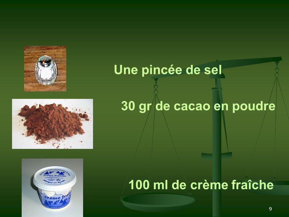 Une pincée de sel 30 gr de cacao en poudre 100 ml de crème fraîche