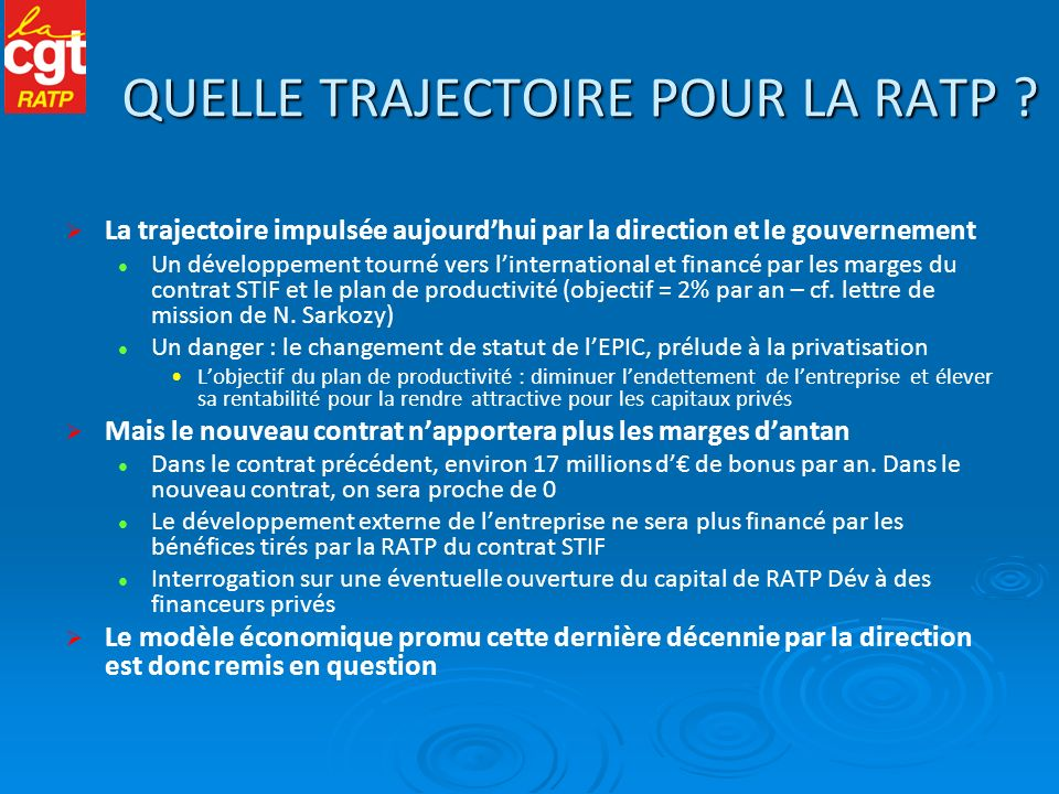 QUELLE TRAJECTOIRE POUR LA RATP