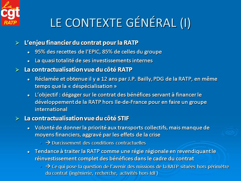 LE CONTEXTE GÉNÉRAL (I)