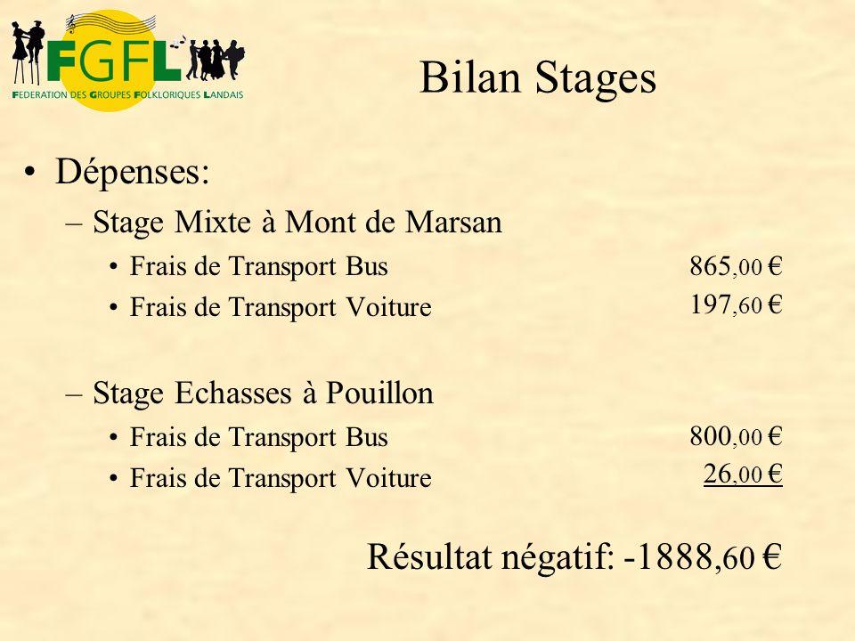 Bilan Stages Dépenses: Résultat négatif: -1888,60 €