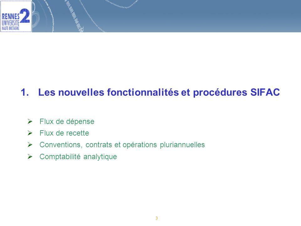 Les nouvelles fonctionnalités et procédures SIFAC