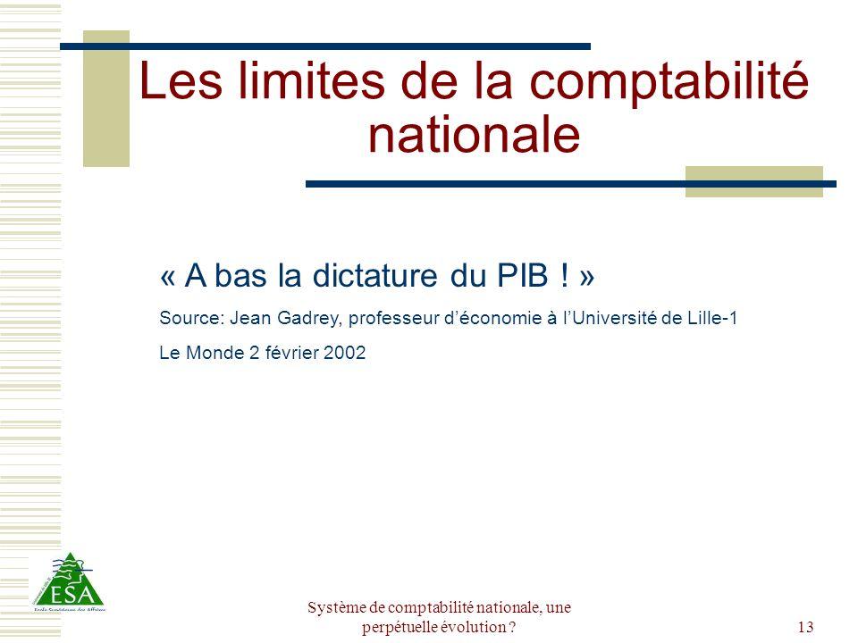Les limites de la comptabilité nationale