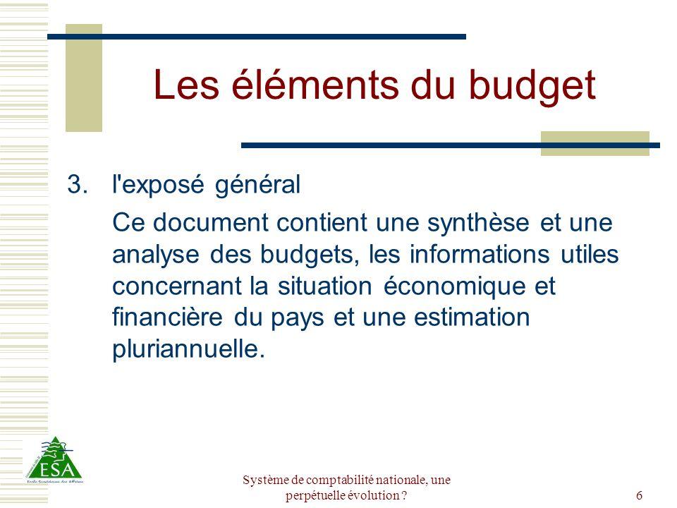 Système de comptabilité nationale, une perpétuelle évolution