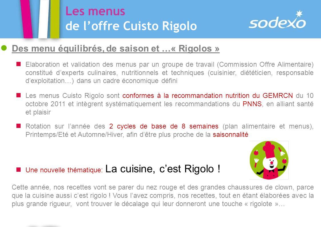 Les menus de l'offre Cuisto Rigolo