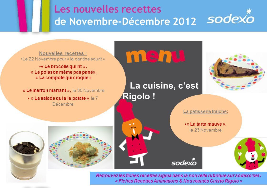 Les nouvelles recettes de Novembre-Décembre 2012