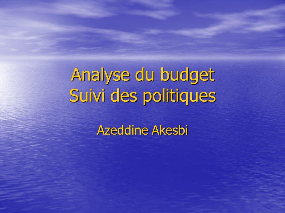 Analyse du budget Suivi des politiques