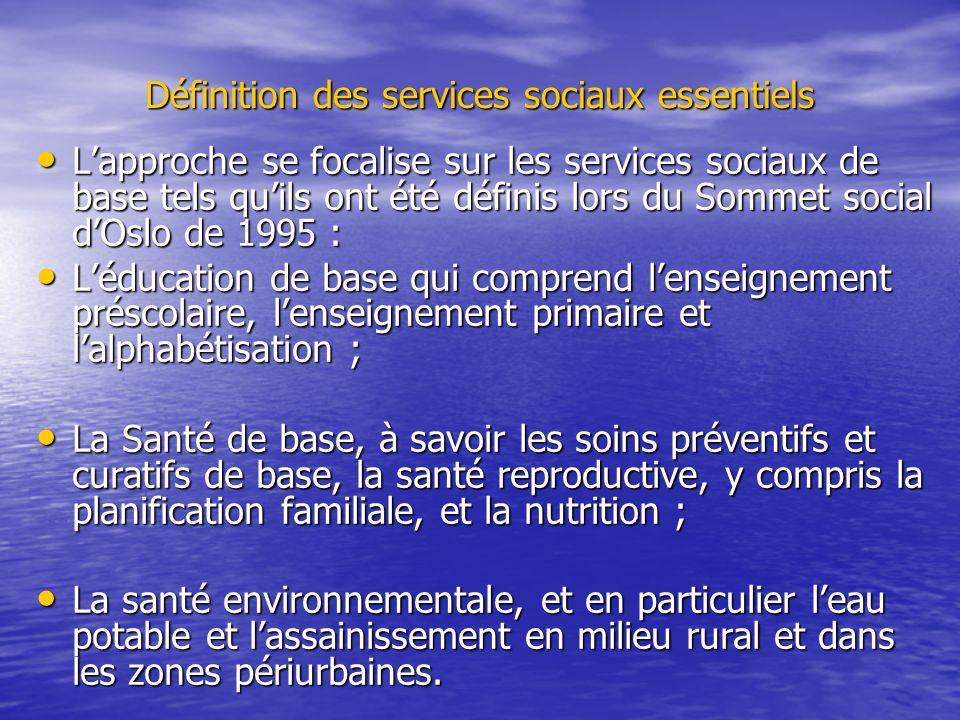 Définition des services sociaux essentiels