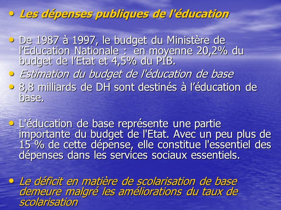 Les dépenses publiques de l éducation
