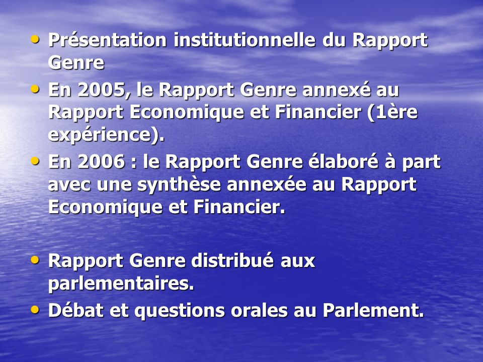 Présentation institutionnelle du Rapport Genre