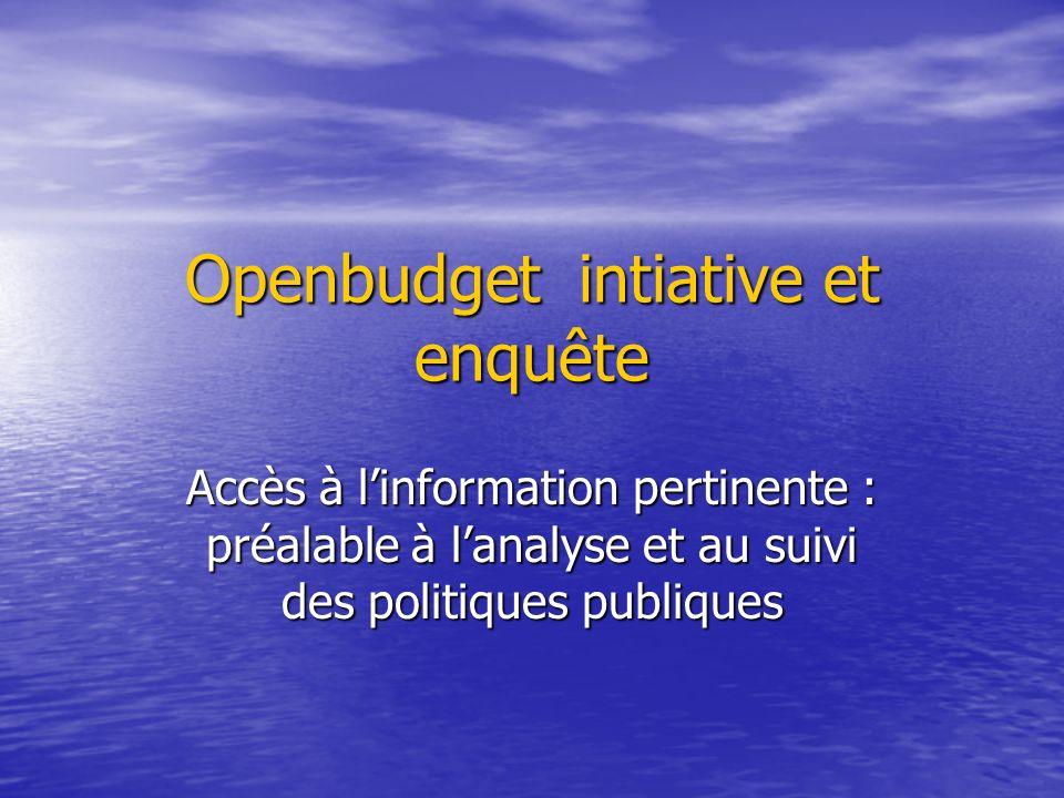 Openbudget intiative et enquête