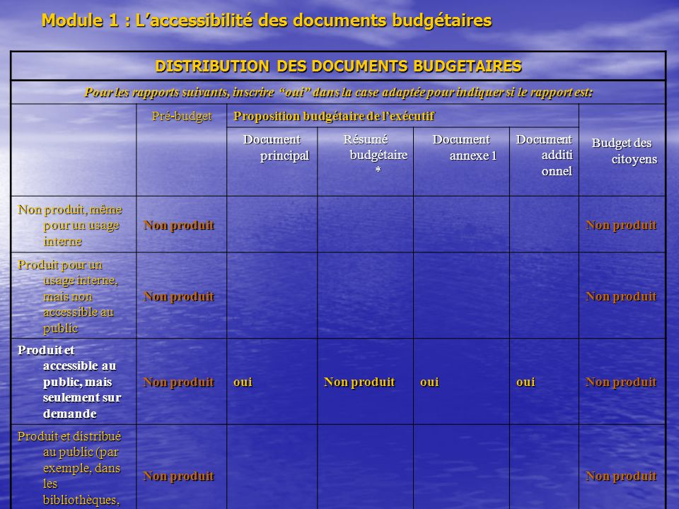 Module 1 : L'accessibilité des documents budgétaires