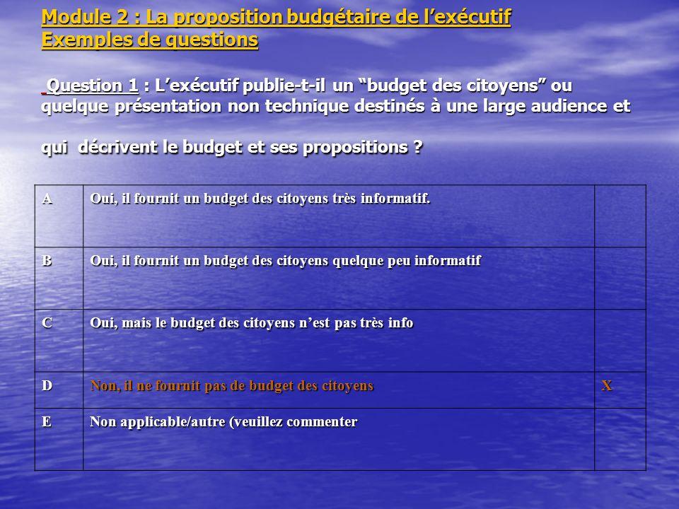 Module 2 : La proposition budgétaire de l'exécutif Exemples de questions Question 1 : L'exécutif publie-t-il un budget des citoyens ou quelque présentation non technique destinés à une large audience et qui décrivent le budget et ses propositions
