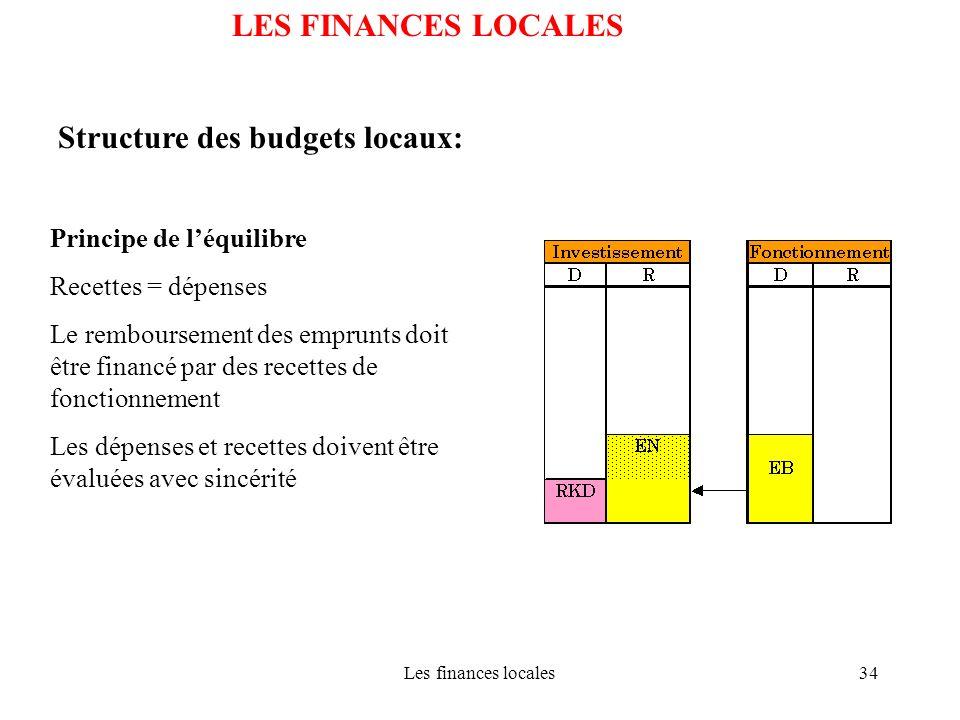 Structure des budgets locaux:
