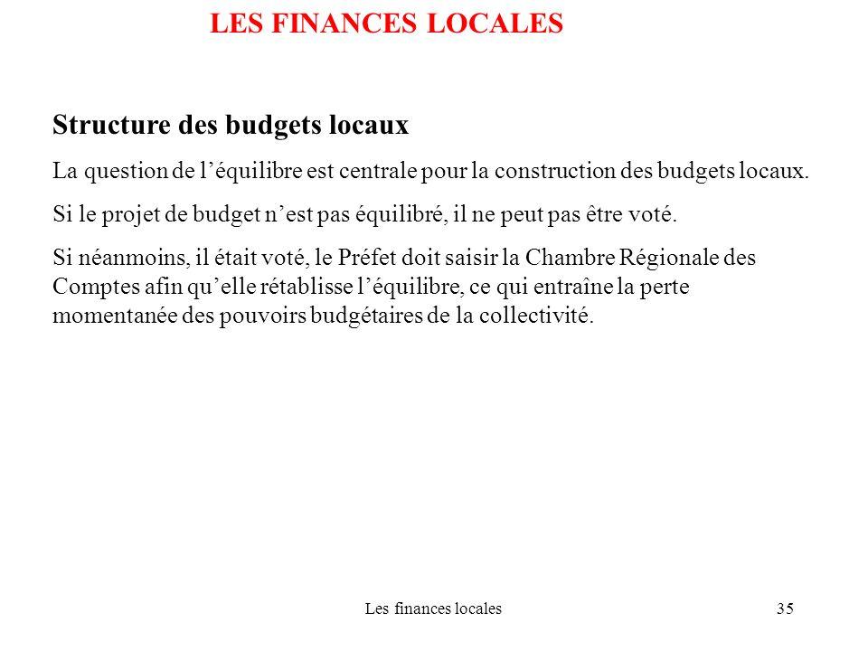 Structure des budgets locaux