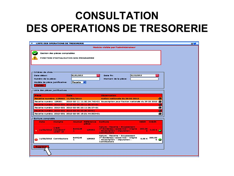 CONSULTATION DES OPERATIONS DE TRESORERIE