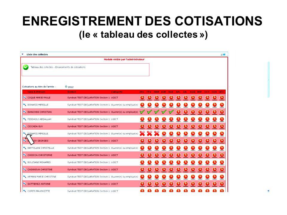 ENREGISTREMENT DES COTISATIONS (le « tableau des collectes »)