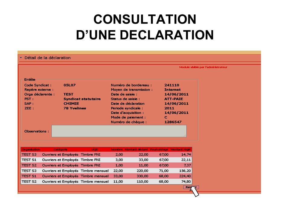 CONSULTATION D'UNE DECLARATION