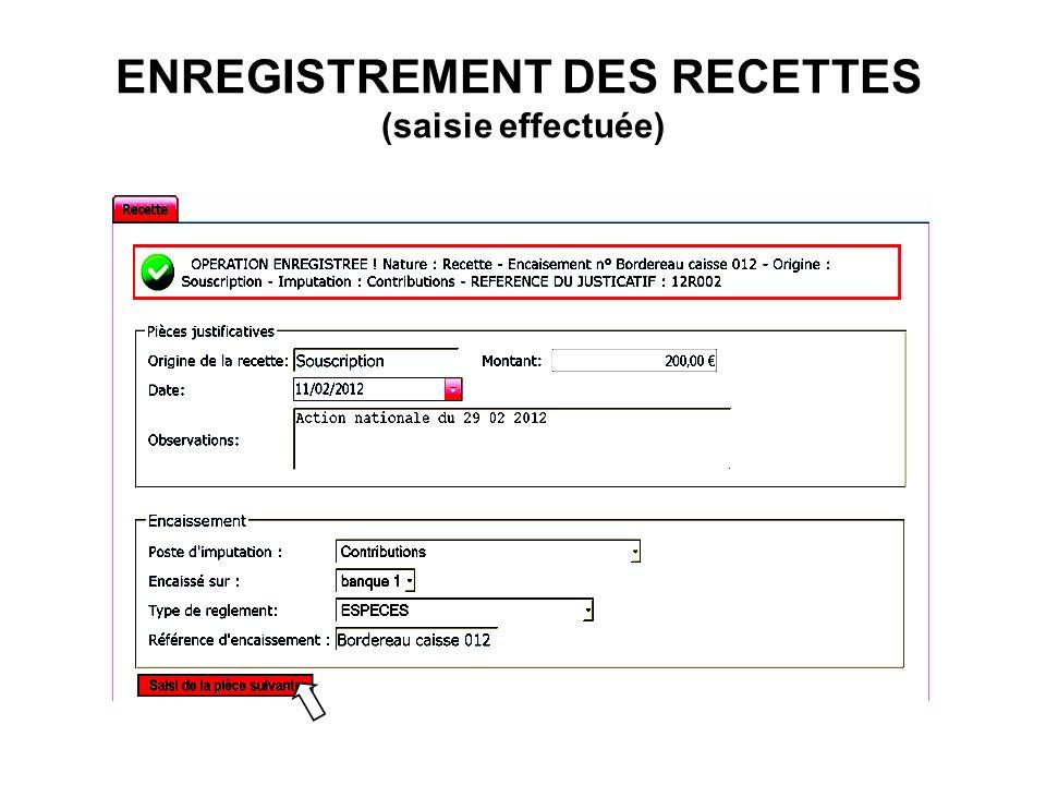 ENREGISTREMENT DES RECETTES (saisie effectuée)